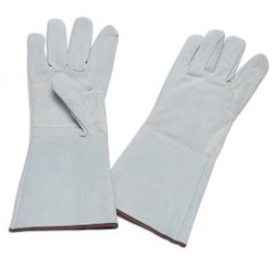 gray leather glove