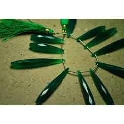 Green Onyx Faceted Long Drops Briolettes