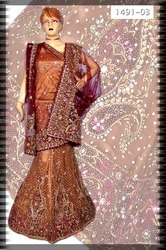 Embroidered Half- And- Half Lehenga