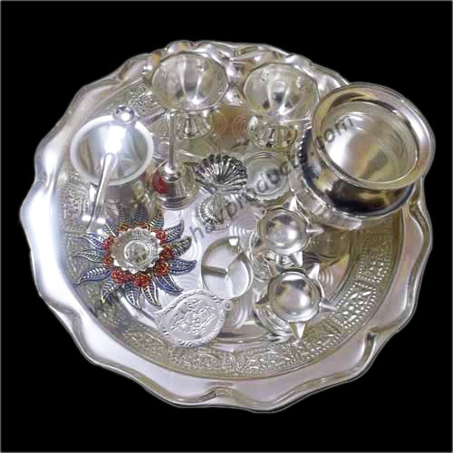 White Metal Pooja Set