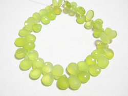 Parrot+Green+Chalcydony+Faceted+Pear+Briolettes