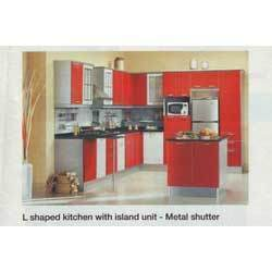 L- Shaped Modular Kitchen With Island Unit