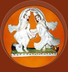 Gold Plated Marble Radha Krishna Statue