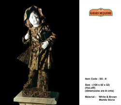 White & Brown Marble Stone Small Statue