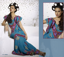 Blue Party Wear Saree