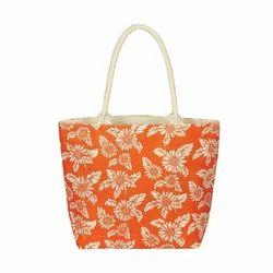Flower Print Jute Bags