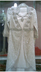 Chiffon White Silver Work