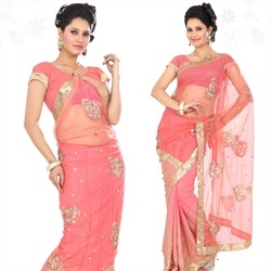 Onion Pink Faux Georgette Saree With Blouse