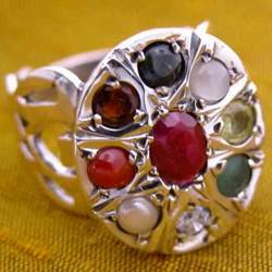 Silver Made Navagraha Gemstone Finger Ring