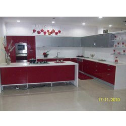 Modular Kitchen on Kitchen   Regular Modular Kitchen  Red   White Regular Modular Kitchen
