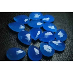 Cobalt Blue Chalcedony Faceted Match Pair Briolettes