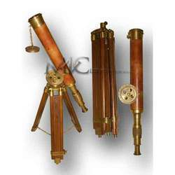 Antique Brass Telescopes With Stand
