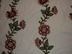 Crewel Fabric Floral Vine Creeper Off White Cotton Duck