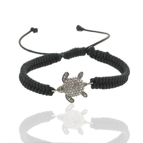 Diamond Turtle Charm Macrame Bracelet