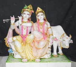 Radha Krishna Statue with Cow