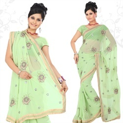 Lime Green Faux Georgette Saree With Blouse