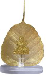 Gold Plated Mahalaxmi Statue on Pipal Leaves