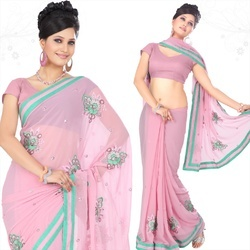 Blush Pink Faux Georgette Saree With Blouse