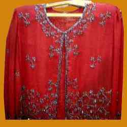 Red Beaded Unlined Jacket