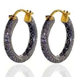 Pave Diamond Studded Hoop Earring Set