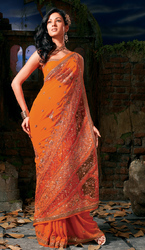 Flush Orange Georgette Party Wear Saree With Designer Tissue Pallu