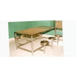 Stainless Steel Dining Table with Stool