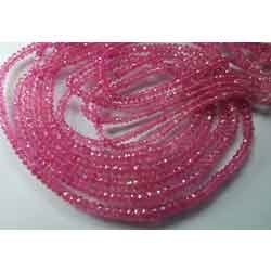 Pink Sapphire Faceted Rondelles, Strand 14'',  3-3.5 mm