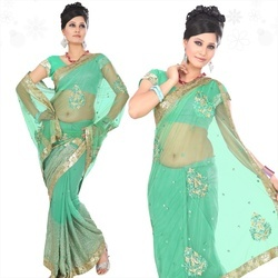 Light Green Faux Georgette Saree With Blouse