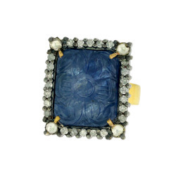 Square Shaped Blue Sapphire Carved Rings