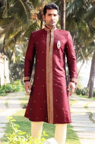 Red Semi Sherwani