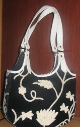 Crewel Handbag Floral Vine Black Cotton Velvet