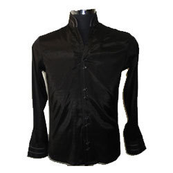 Black Shirt With Chinese Collars