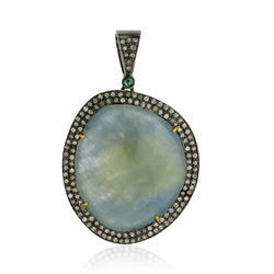 18k Gold Gemstone Pendant Jewelry