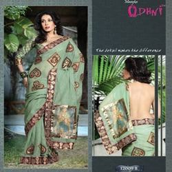 Block Printed Green Saree