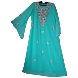 Blue Kaftan With Silver Work
