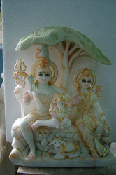 White Marble Shiv Parvati and Ganesh Ji