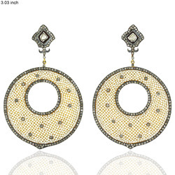 Diamond Disk Pearl Earrings