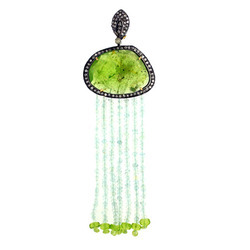 Pave Diamond Aquamarine Tassel Pendants