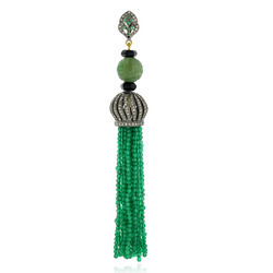 Emerald Pave Diamond Tassel Pendants