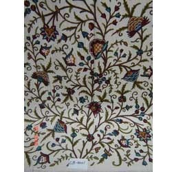 Cotton Base Hand Embroidered Floral Crewel Fabric