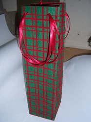 Christmas Checks Wine Bottle Bags