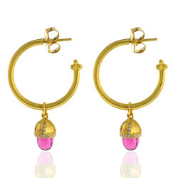 18 K Gold Hoop Diamond Earrings