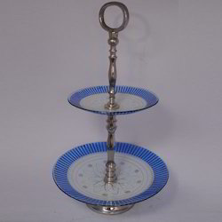 Blue Floor Glass Cake Stand