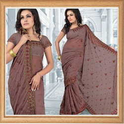Grayish Maroon Faux Georgette Saree With Blouse