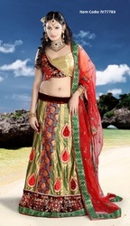Aloe Vera Green, Brick Red & Gold Color Lehenga Choli