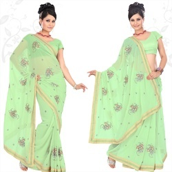 Lime Green Fuax Georgette Saree With Blouse