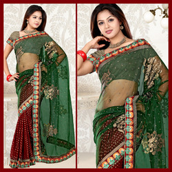 Maroon Viscose Saree With Blouse (90)
