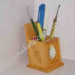 Wooden Pen Stand With Watch