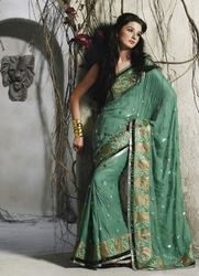Sareegalaxy - Sea Green Faux Georgette Saree With Blouse