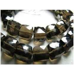 Smoky Quartz Faceted 3D Cube